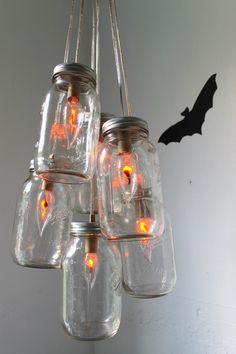 Halloween Mason Jar Chandelier