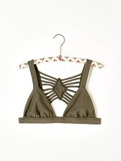 Stone Top Bra | This stretchy cotton bra with an elaborate strap design on back is American sewn and made to be seen..