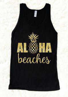 Aloha Beaches Womens Glitter American Apparel by HappyHeartApparel