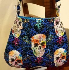 Gothic Skull Purse  Psychedelic Purse Punk by AllAmericanaCrafts