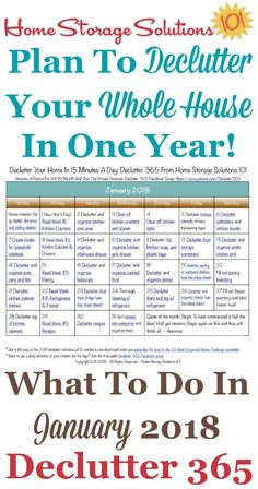 Free printable January 2018 #decluttering calendar with daily 15 minute missions. Follow the entire #Declutter365 plan provided by Home Storage Solutions 101 to #declutter your whole house in a year. #declutteryourhome