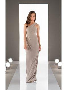 Sheath Long Chiffon One-Shoulder Wedding Party Bridesmaid Dresses 3302020