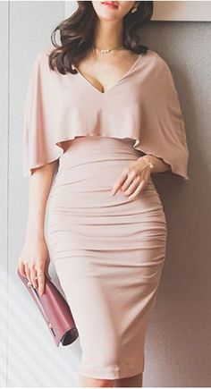 Stylish Plunging Neck Ruched Bodycon Cape Dress For Women Cape Dress, Dress Skirt, Dress Up, Bodycon Dress, Pink Dress, Ruched Dress, Women's Dresses, Dress Outfits, Fashion Dresses