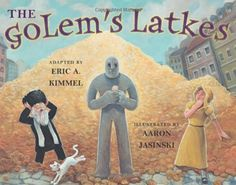 The Golem's Latkes Written by Eric Kimmel Illustrated by Aaron Jasinski SYNOPSIS: When a rabbi leaves his housemaid in charge while he visits the emperor, a golem, a creature made from clay, comes to life and creates more latkes than the city can contain. The Sorcerer's Apprentice, The Golem, Young Adult Fiction, Up Book, Fiction And Nonfiction, Children's Picture Books, Reading Levels, Book Projects, Stories For Kids