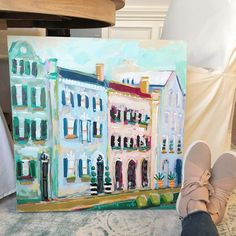 Charleston Painting - C. Brooke Ring - Rainbow Row Painting - Colorful painting for dining room