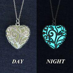 Glow-in-the-Dark Jewelry, Buy today - Ship Tomorrow, Aqua Glowing Necklace, Glowing Pendant, Glow in the Dark Necklace, GLOW003