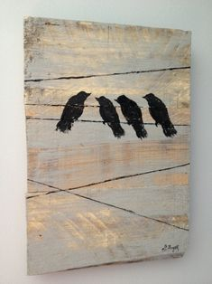 DIY painting. birds on a wire...painted on old pieces of pallet racking...so simple & cute!    shescreative.blogspot.com