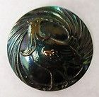 ANTIQUE BUTTON WITH ROOSTER IRIDESCENT LUSTER ON BLACK GLASS - ANTIQUE, Black, Button, Glass, Iridescent, Luster, Rooster