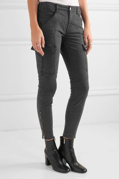 J Brand - Houlihan Cropped Stretch-cotton Twill Skinny Pants - Anthracite - 23