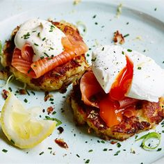 Try this Potato Cakes with Smoked Salmon recipe by Chef Jamie Oliver.