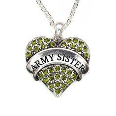 Army Sister Pave Heart Charm Necklace OMG I NEED THIS!!!!!!!!!!!