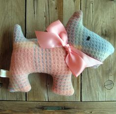 Patty Pink Check Upcycled Plush Scotty Dog by leahkl on Etsy. , via Etsy.