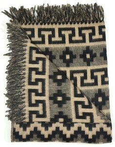 Peruvian Alpaca & Merino Wool Reversible Luxury Ethnic Design Throw- black/beige. eBay starting bid £20 - don't miss out!