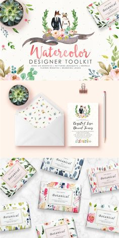 Watercolor #Designer Toolkit This is a fancinating collection in romantic colours, a bunch of graphic elements and patterns, and pre-designed logo boards. It gives you possibilities for your imagination and it will definitely add value if incorporated into your products, you will enjoy the creation process! (Sponsored)