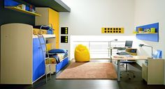White Modern Boys Bedroom Design with Blue and Yellow Furniture – ZG Group Boys Bedroom Design