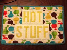 Paper pieced alphabet - Hot Stuff hot pad by Material Girl Quilts - Amanda Castor