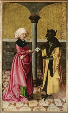 Devil delivers the wrong message. Master of the Legend scenes; Satan, Real Online, Renaissance, 15th Century Clothing, Statues, Medieval Paintings, Deal With The Devil, Mythological Creatures, Angels And Demons
