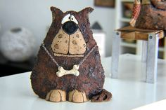Sad little dog need a new home <3  Size:7.5H /6.3W  Material: Clay,stoneware,pottery,ceramic,underglaze,glaze