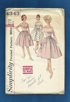 1960s Simplicity 4343 Rockabilly Party Dress with Fitted Bodice Round Neckline Full Faux Over Skirt Size 14 Miss