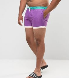 ASOS PLUS Festival Swim Shorts In Purple With Hem Detail In Short Leng