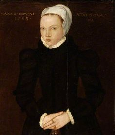 1565 Portrait of a Girl, Aged 10 Note by this date the points of the coif are in line with the eyebrows - replicating the fashionable line of the French hood.