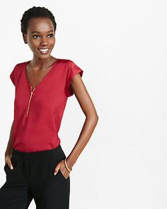 silky v-neck rolled sleeve blouse