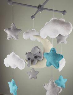 Baby Mobil-Elefantenbaby Mobil-Cloud Baby mobile von MaddiesHats