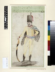 Drawing by the Prince of Wales (George IV) for a Hussar's uniform for a masquerade, 1783