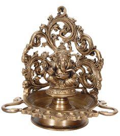 7 wick Ganesha Lamp [7494] - deepa , lamps, bronze statues, Indian Handicrafts, Indian Handicrafts Online