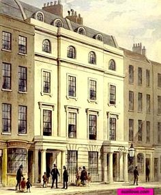 1830-1859 ca.   Old Bow Street Police Station, St. Giles, London, UK. Watercolour by T.H.Shepherd.  Two policemen in uniform stand outside building.  suzilove.com