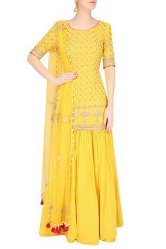 Buttercup color floral motifs short kurta and sharara pants set available only at Pernia's Pop Up Shop.