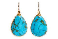 Turquoise Saretha Earrings in 18K Gold on OneKingsLane.com