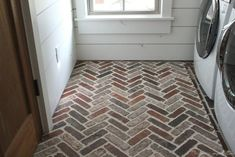 Thinking about putting a brick floor in your home? Read this post for information about where to buy brick tiles, cost, sealer, and more! Brick Tile Floor, Brick Pavers, Brick Flooring, Kitchen Flooring, Brick Wall, Floors, Light Brick, Thin Brick, Mud