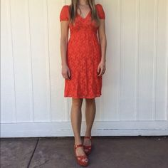 Lace dress Orange lace dress from Anthropologie • fully lined Anthropologie Dresses
