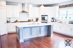 Want to Upgrade Your Kitchen Island? This is a super quick, inexpensive, easy weekend project, that provides a lot of character to an otherwise basic kitchen island by adding picture frame molding. Kitchen Island Molding, Diy Kitchen Cabinets, Painting Kitchen Countertops, Painting Cabinets, Southern Kitchens, Home Kitchens, Picture Frame Molding, Basic Kitchen, Kitchen Upgrades