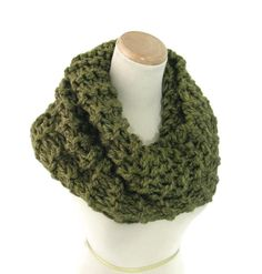 Olive Green Cowl  Knit Cowl Chunky Cowl Hand by ArlenesBoutique