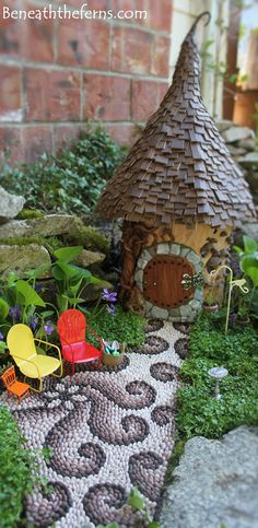 Miniature fairy garden path process. See more at beneaththeferns.com