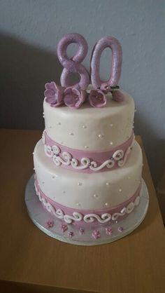 80th birthday cake. White chocolate and raspberry filling
