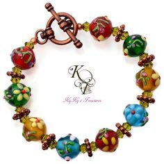 Colorful Bracelet, Floral Bracelet, Flower Bracelet, Raised Flower Beads, Copper Bracelet, Copper Jewelry, Floral Jewelry, Flower Jewelry
