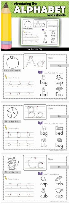 Introducing the Alphabet worksheets. The focus is on both upper and lower case letters as well as reading CVC words. Handwriting Worksheets, Alphabet Worksheets, Preschool Worksheets, Preschool Learning, Preschool Activities, Early Learning, Learning Spanish, Tracing Worksheets, Handwriting Practice