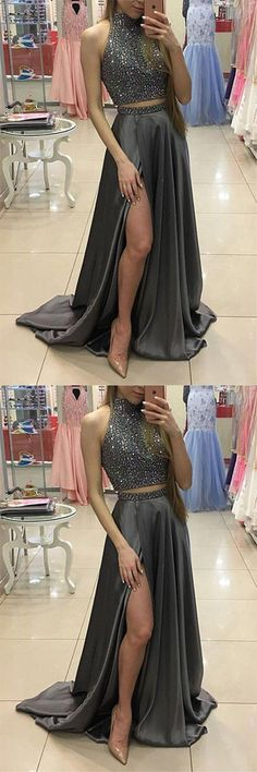 Sexy Prom Dresses,Long Prom Dresses, Prom Dresses,High Neck Prom Gowns,Grey Prom Dresses, 2 Piece Prom Dresses, Two Piece Prom Dresses, Slit Prom Dresses, Hot Sales Prom Dresses, 2 Pieces Prom Dress, Two Pieces Evening Dresses,Graduation Dresses,Party Dresses