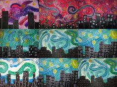 Starry night city sky