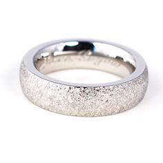 Platinum handmade textured men's wedding ring. Custom manband by Abby Sparks Jewelry, custom jewelry designer in Denver, Colorado.