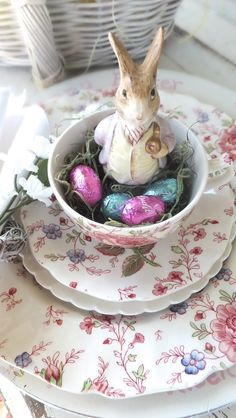 Easter Tea, complete with bunny and foil covered chocolate eggs