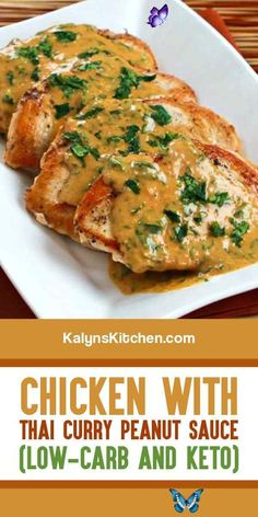 Chicken with Thai Curry Peanut Sauce – Kalyn's Kitchen Chicken with Thai Curry Peanut Sauce is one of my favorite easy and low-carb recipes with chicken! [found on KalynsKitchen.com] #ChickenwithThaiCurrySauce #ThaiChickenBreasts #ThaiRedCurry #CurryPeanutChickenBreasts<br> This tasty Chicken with Thai Curry Peanut Sauce is one of my favorite low-carb recipes with chicken!