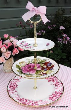 Pink Vintage China 3 Tiered Cupcake Stand