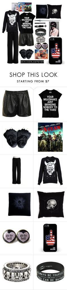 """""""GB Nico Sleepover"""" by half-blood-outfits ❤ liked on Polyvore featuring Glamorous, Hue, Black Score, S.W.O.R.D., Studio dks by Deborah Shavlik, Love Moschino, King Baby Studio and Manic Panic NYC"""