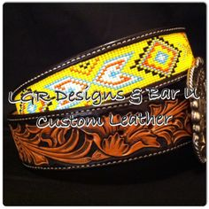 Handmade belt from LGR Designs in collaboration with Bar U Custom Leather. Like LGR Designs on Facebook for custom orders on bracelets, hatbands, belts, dog collars, head bands, key chains, halters, tack, hats, and more!