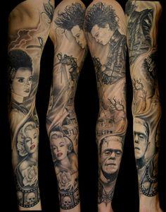 love Love LOVE this Edward Scissorhands, Bride of Frankenstien, Bates Hotel, Marylin Monroe, Frankenstien sleeve!!! Artist: Indio Reyes