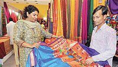 Weavers from 13 states have put up stalls at Silk Fab being held at Shikshaka Sadan | Nagesh Polali